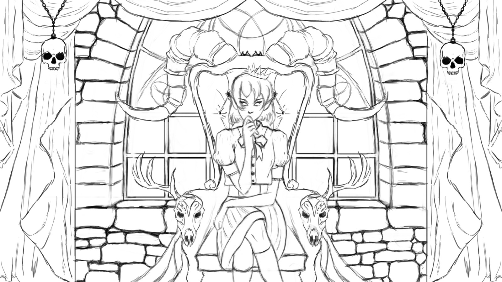 Lineart. With old character pose.