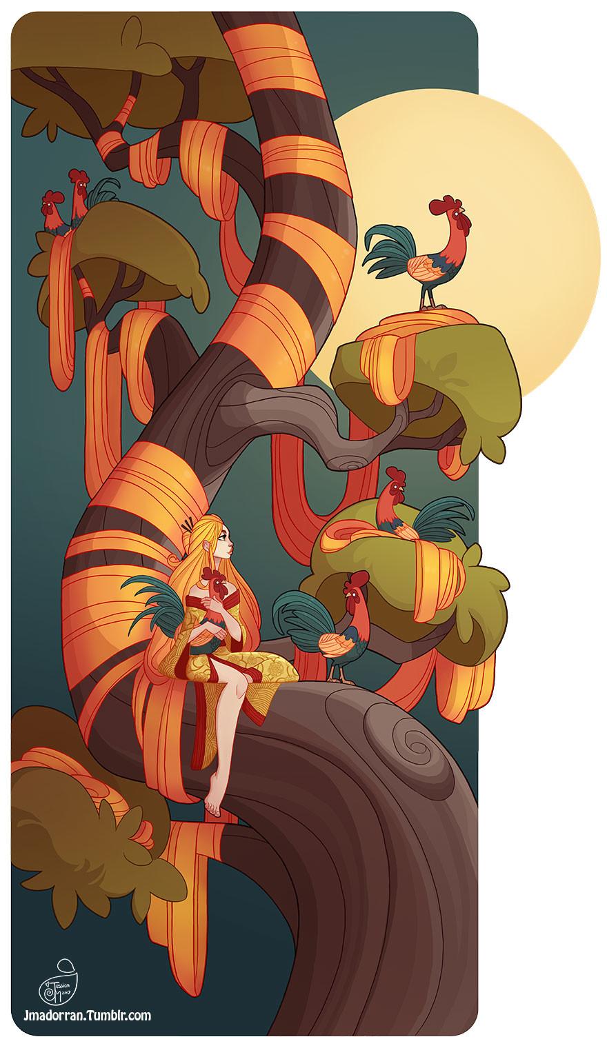 Jessica madorran character design chinesenewyear firerooster2017 artstation