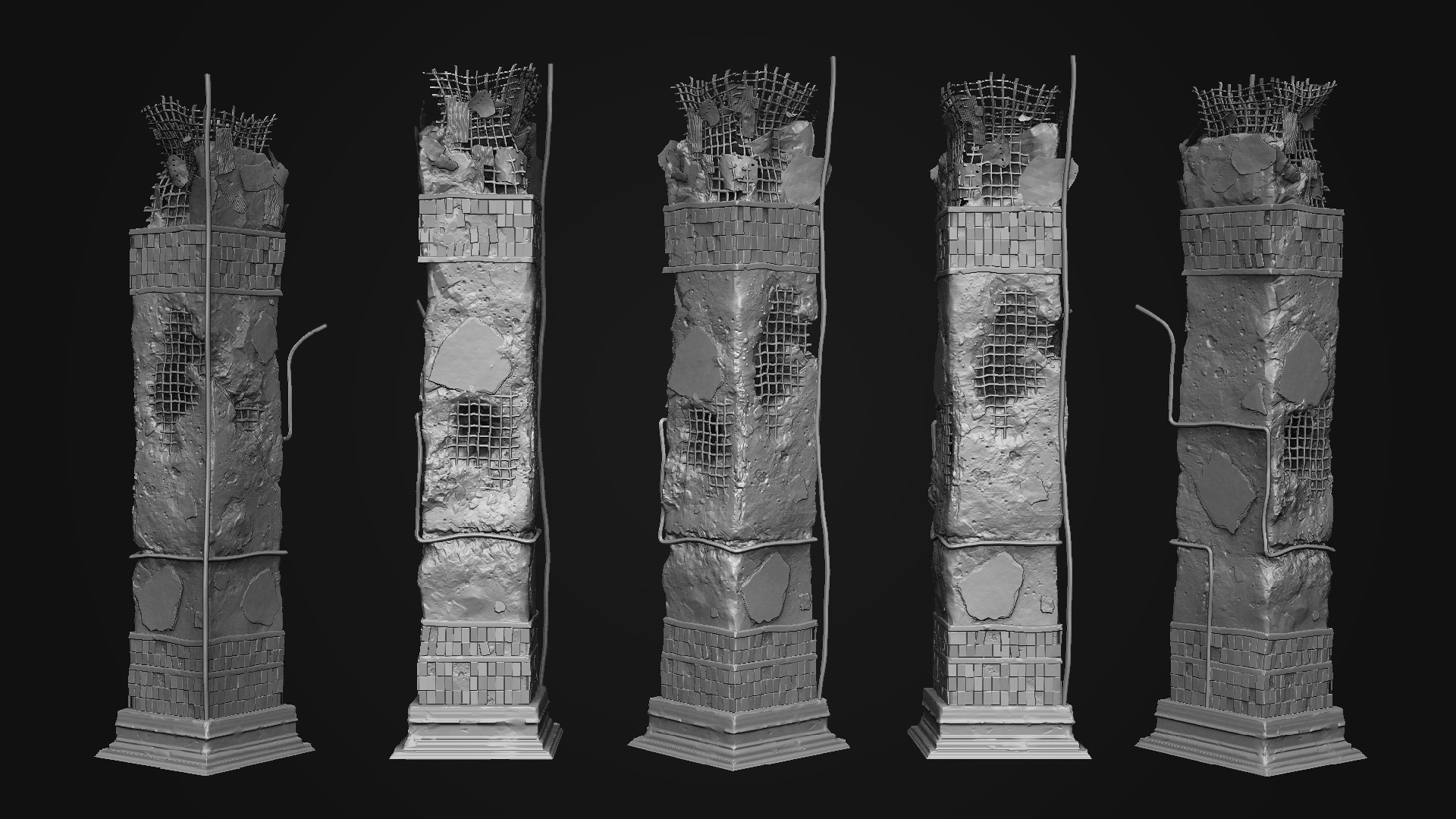 Artstation Damaged Concrete Pillar Rudolf Burda