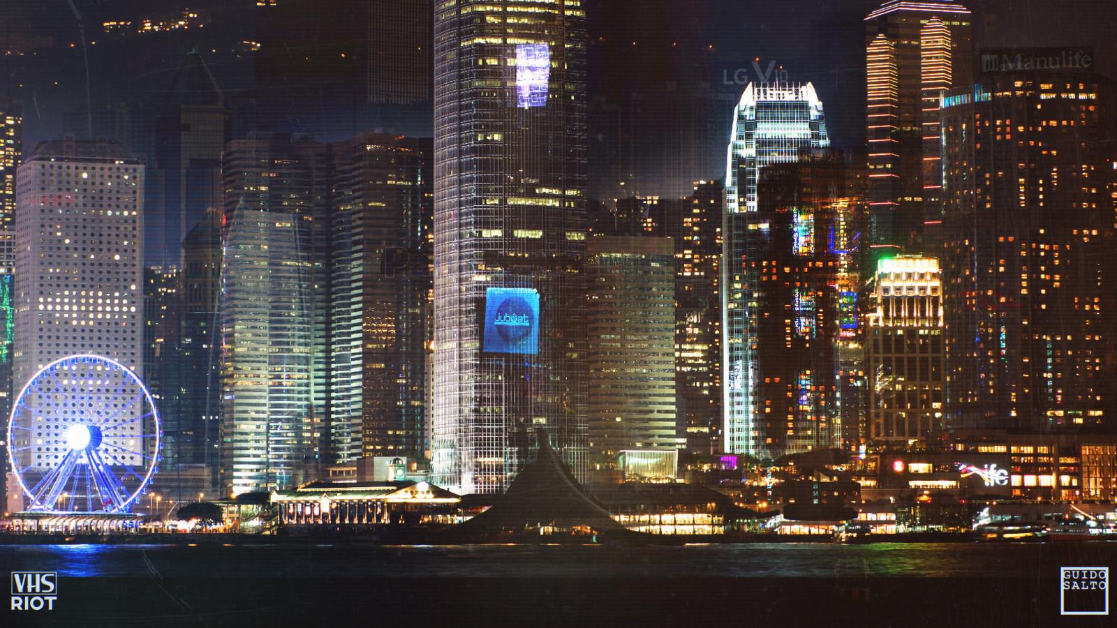 Quick Photobash of a Hong Kong Skyline at night