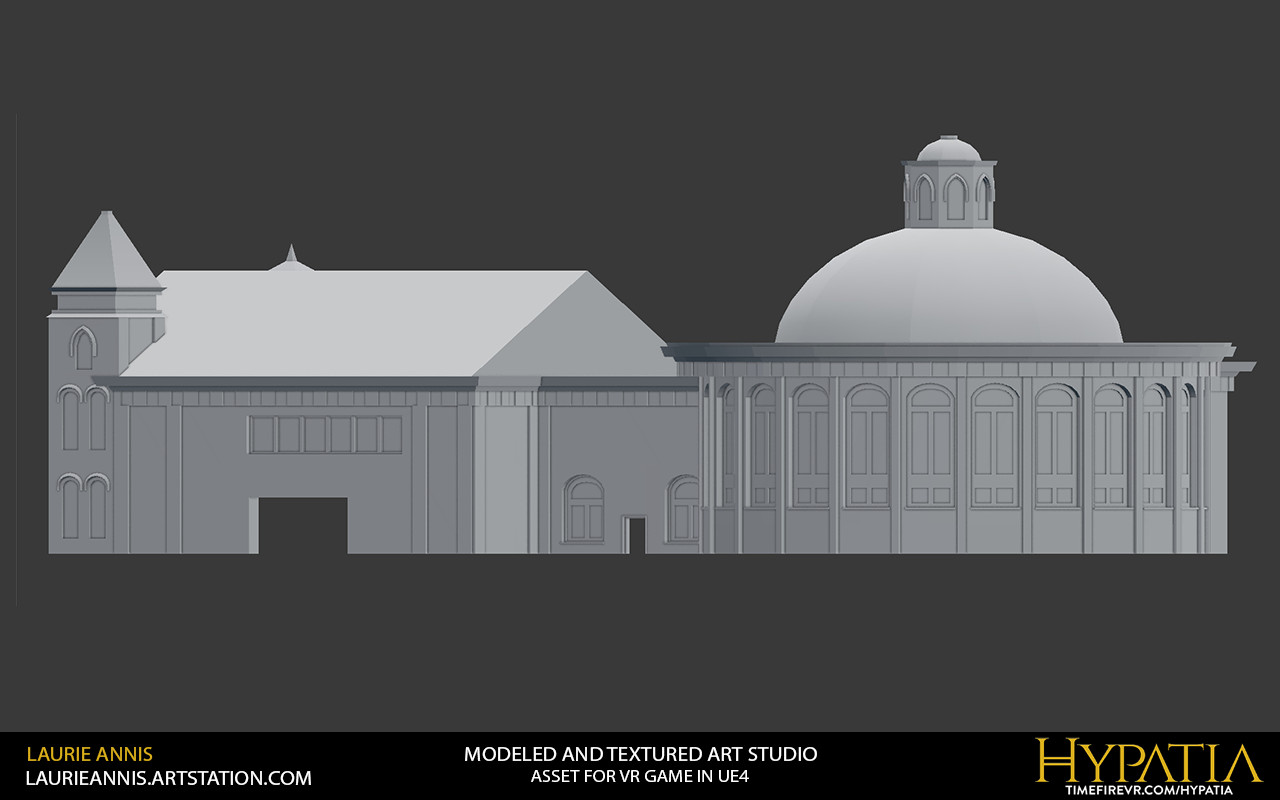 Low poly modular game asset: Hypatia Art Studio Exterior.  Rear exterior window modules modeled by Tyler Agte 