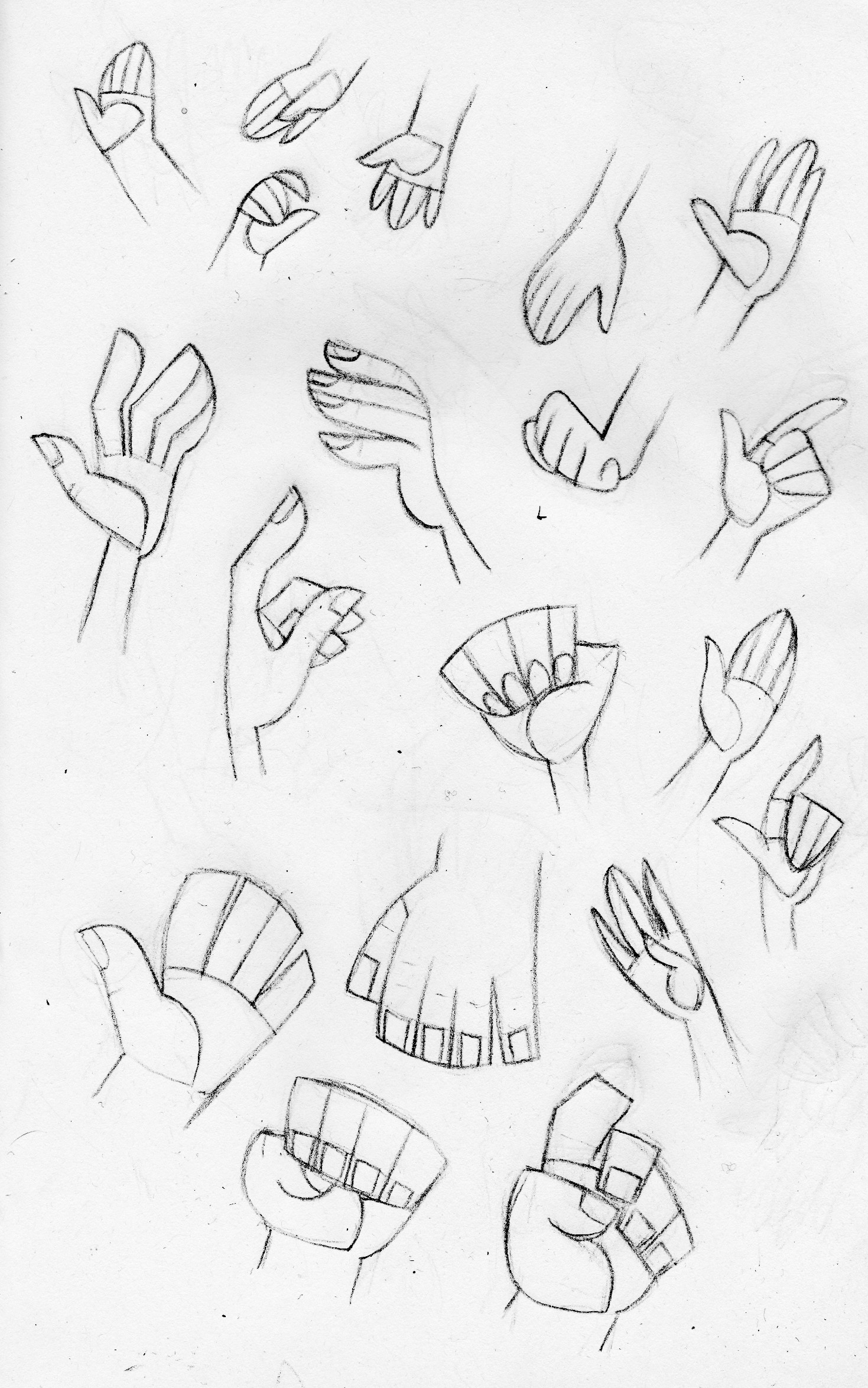 Hands reference sheet for characters (top left to bottom) Little Red, Boy, Elder, Mother, Chief