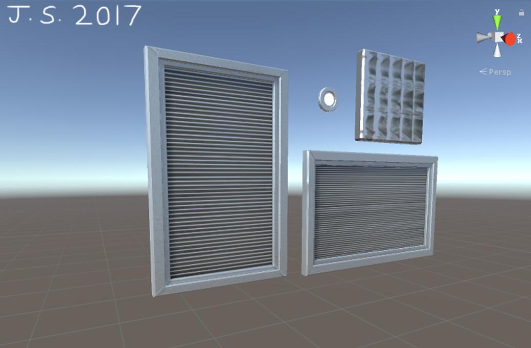 Vertical Window, Horizontal Window, Small Light, Large Light