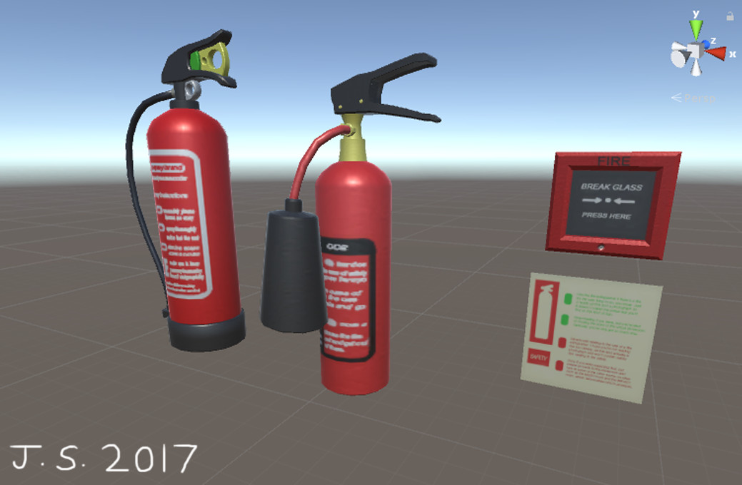 Fire Extinguisher 1, Fire Extinguisher 2, Fire Alarm, Safety Sign