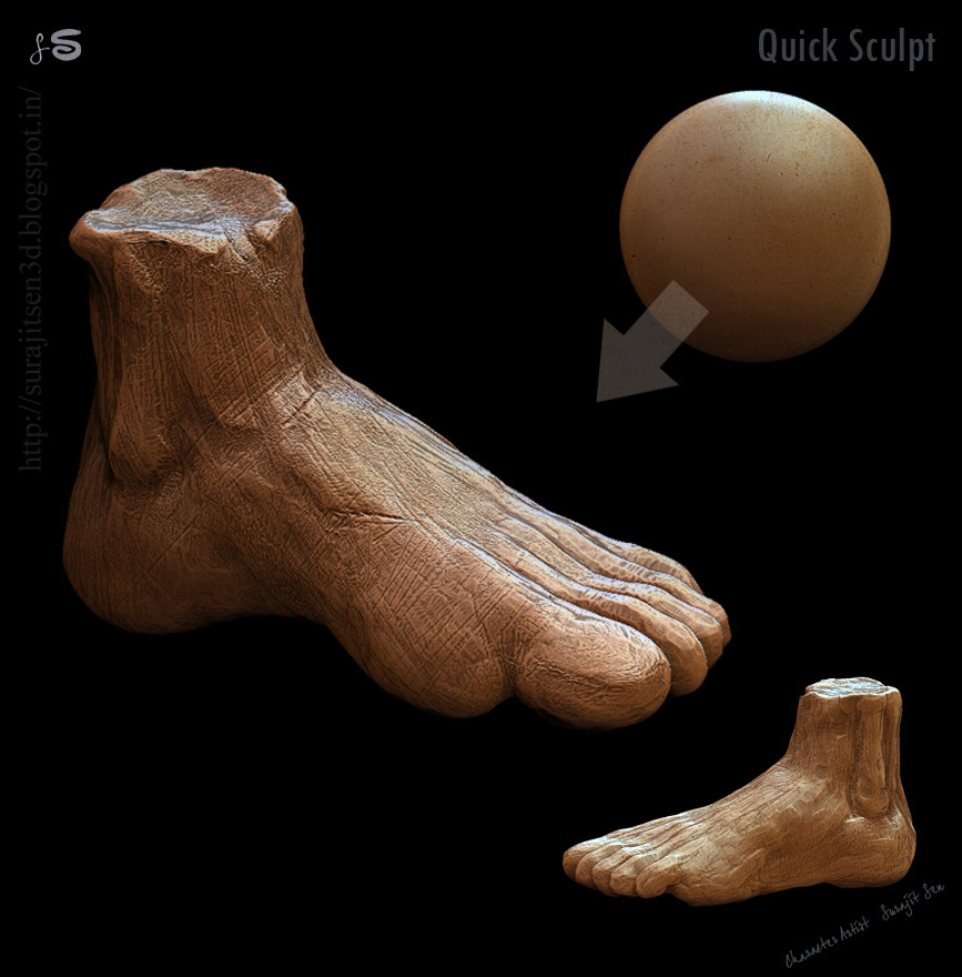 #doodle  My teatime quick sculpt volume study  :) Played with brushes!Wish to share.  I'm learning and want to learn more. .. #surajitsen #quicksculpt #digitalsculpting #zbrush #anatomy #humanfoot