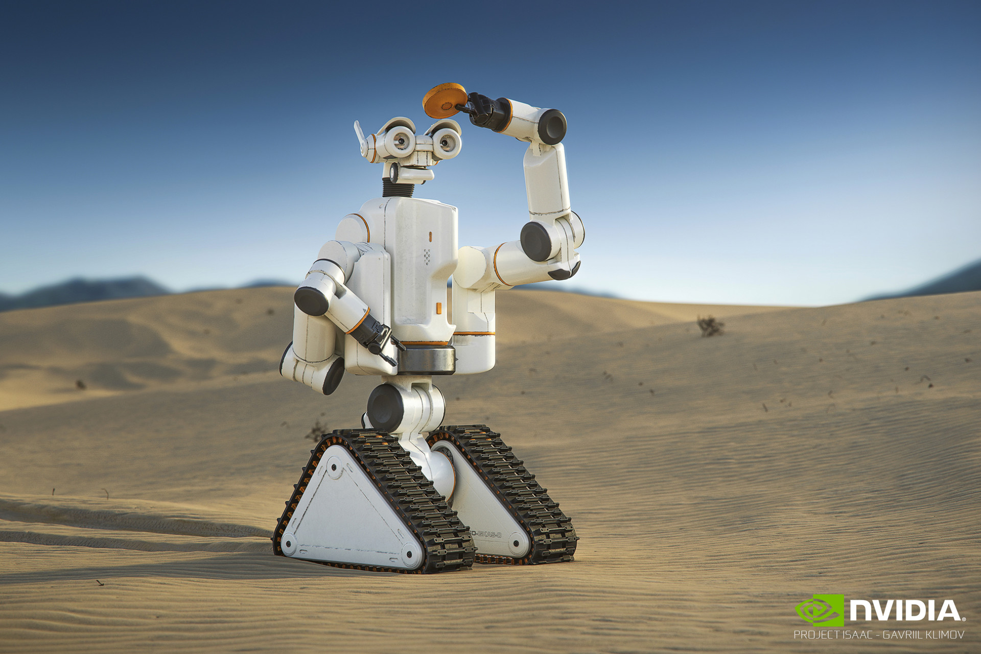 NVIDIA Isaac / Desert outdoor  When working with Jensen, he mentioned the robot I was designing should appeal as a character. Desert shots have always been appealing to me since I watched Star Wars for the first time.