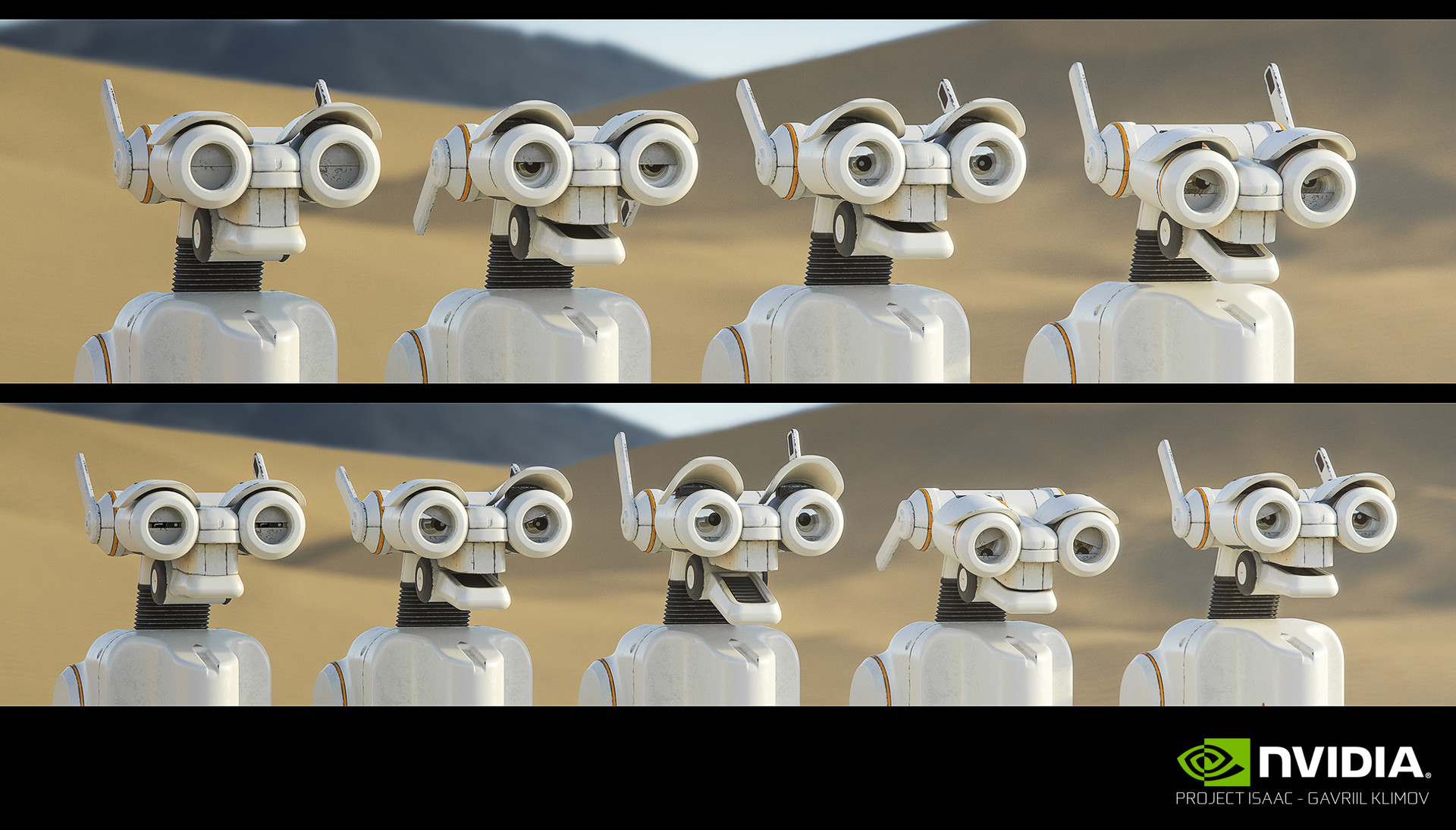 NVIDIA Isaac / Expression tests  These were early experiments on Isaac's possible range of emotions done by me and Andrej, the final animations were handled by our lead animator Brian Robison who did an outstanding job.
