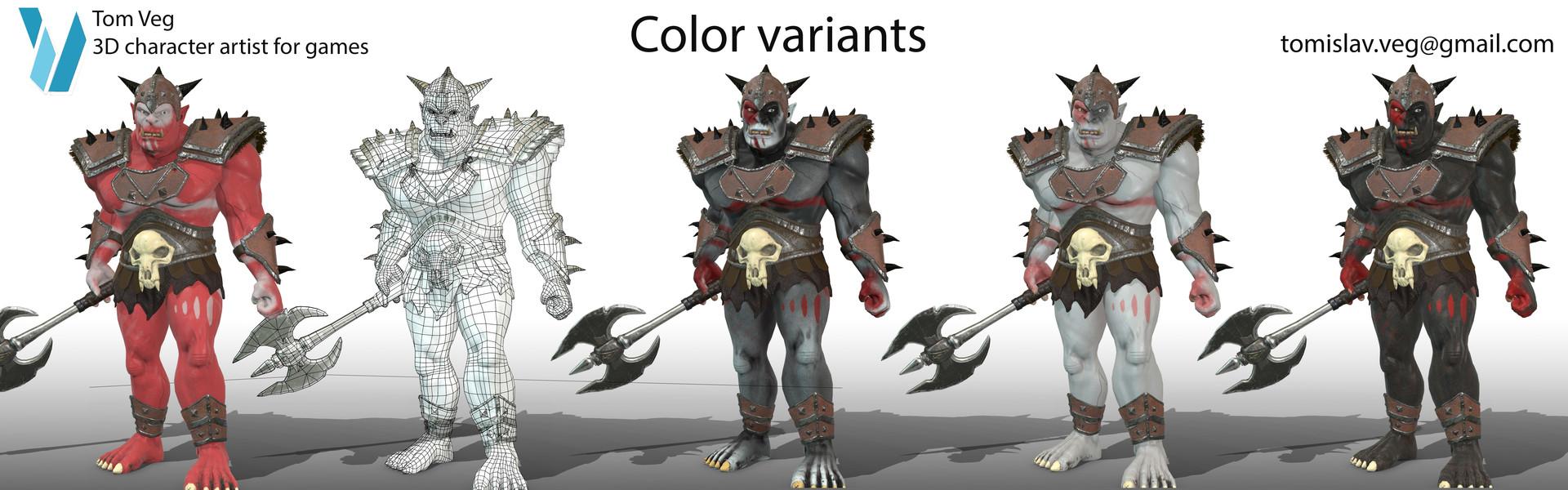 Tom veg color variants