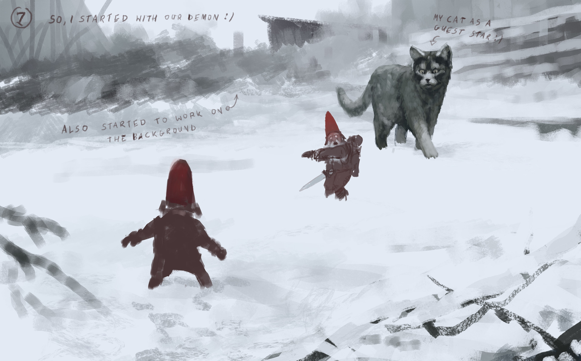 Jakub rozalski furry demon 01process2
