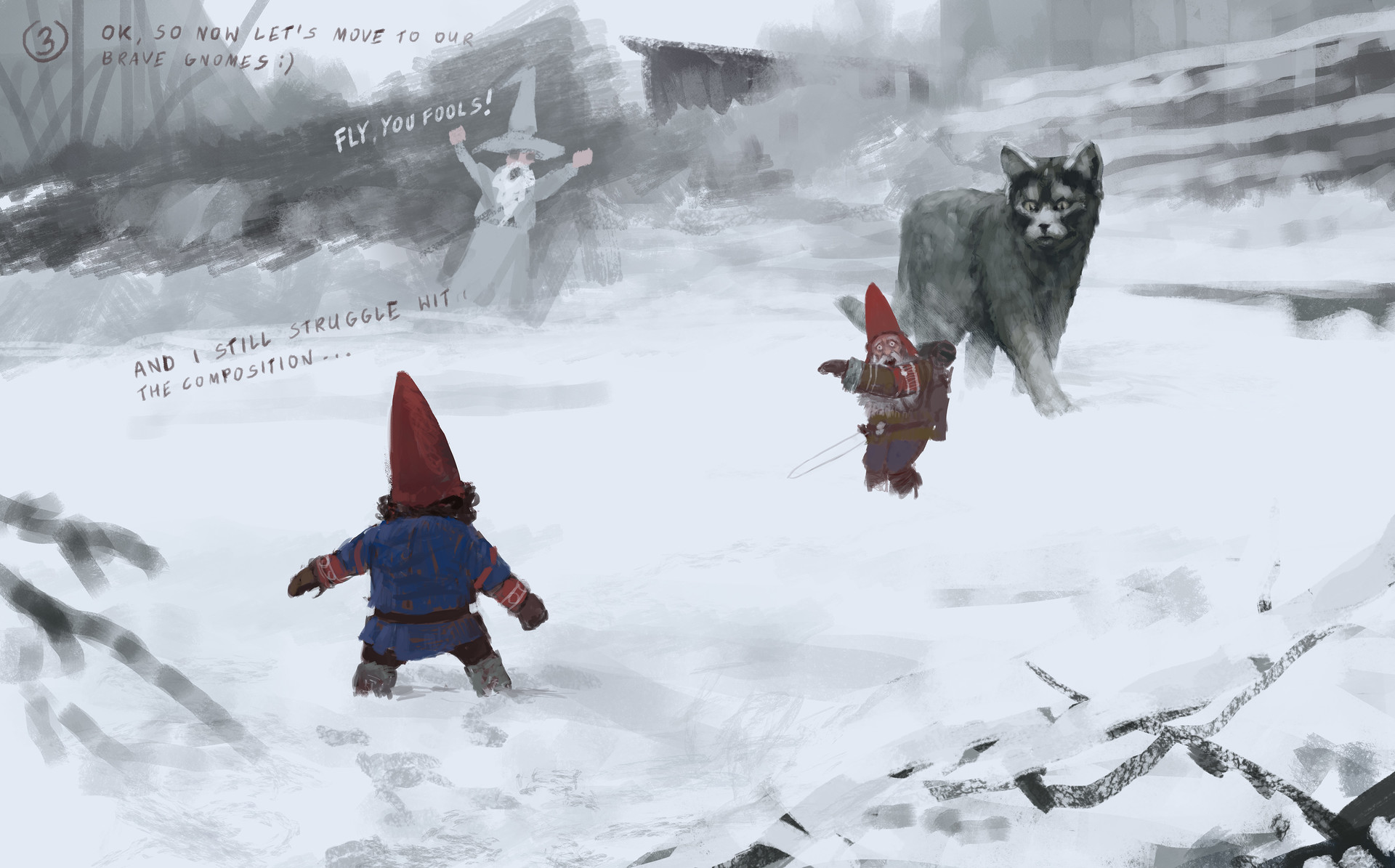 Jakub rozalski furry demon 01process3