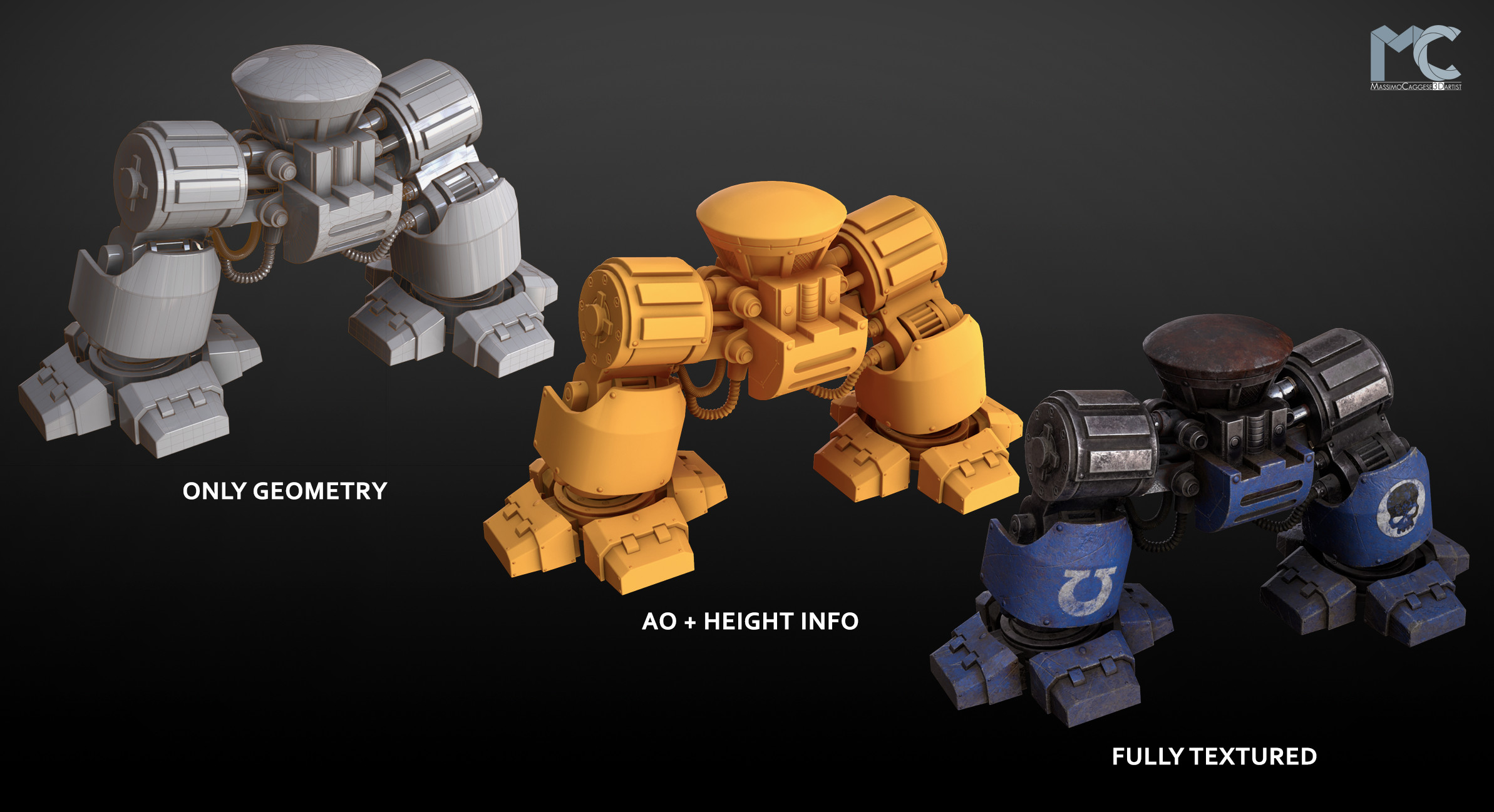 Work steps: geometry --> height info --> textures (Marmoset Toolbag 3).