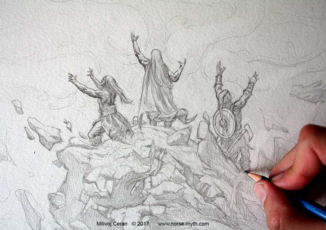 """Odin, Vili and Ve create 9 viking worlds"" © Milivoj Ćeran 2017.