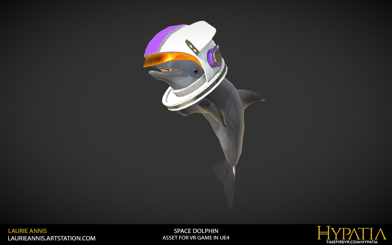 Low poly game asset: Hypatia Space Dolphin