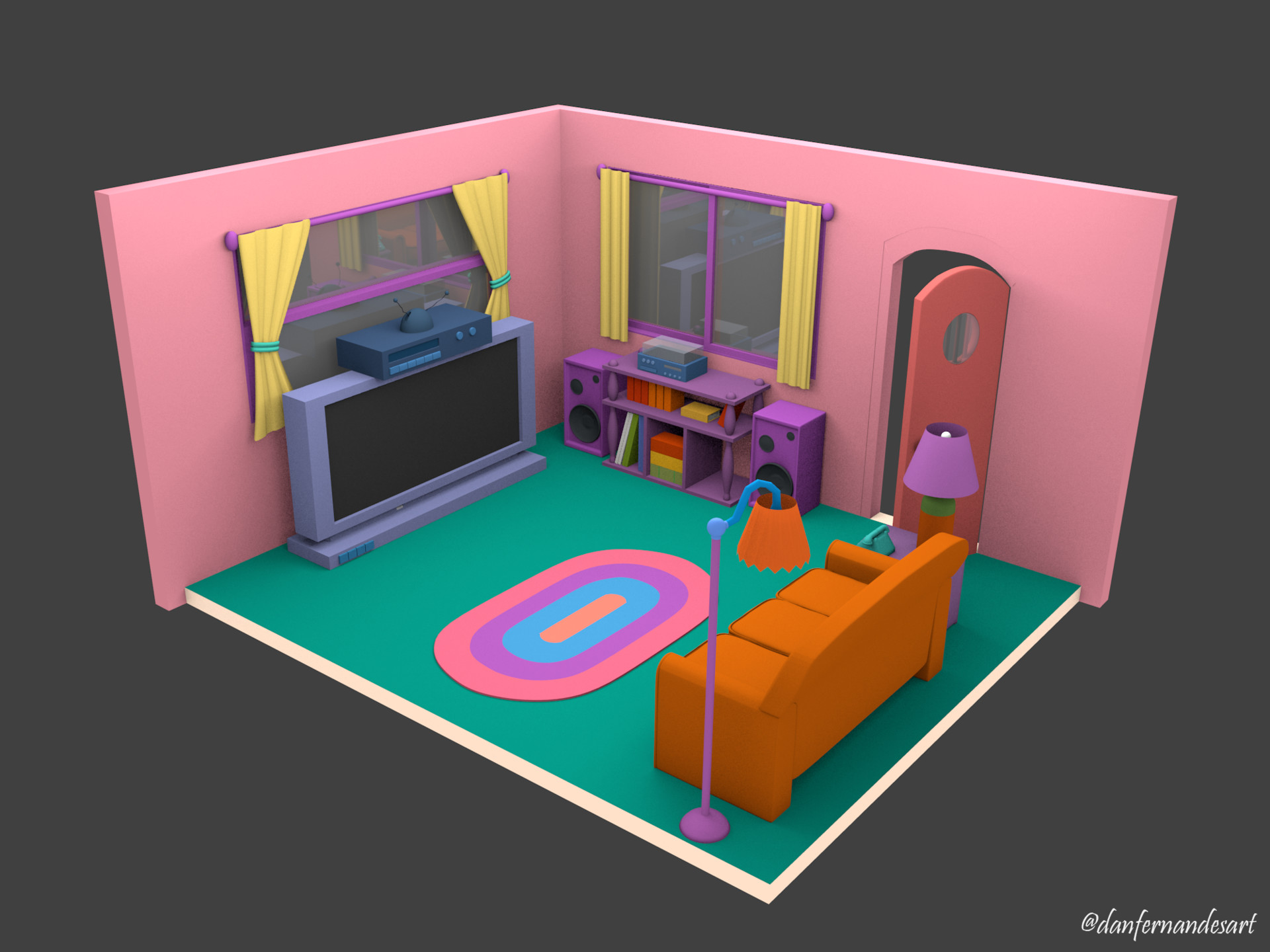 the simpsons living room artstation the simpsons house tv room daniel fernandes 13741