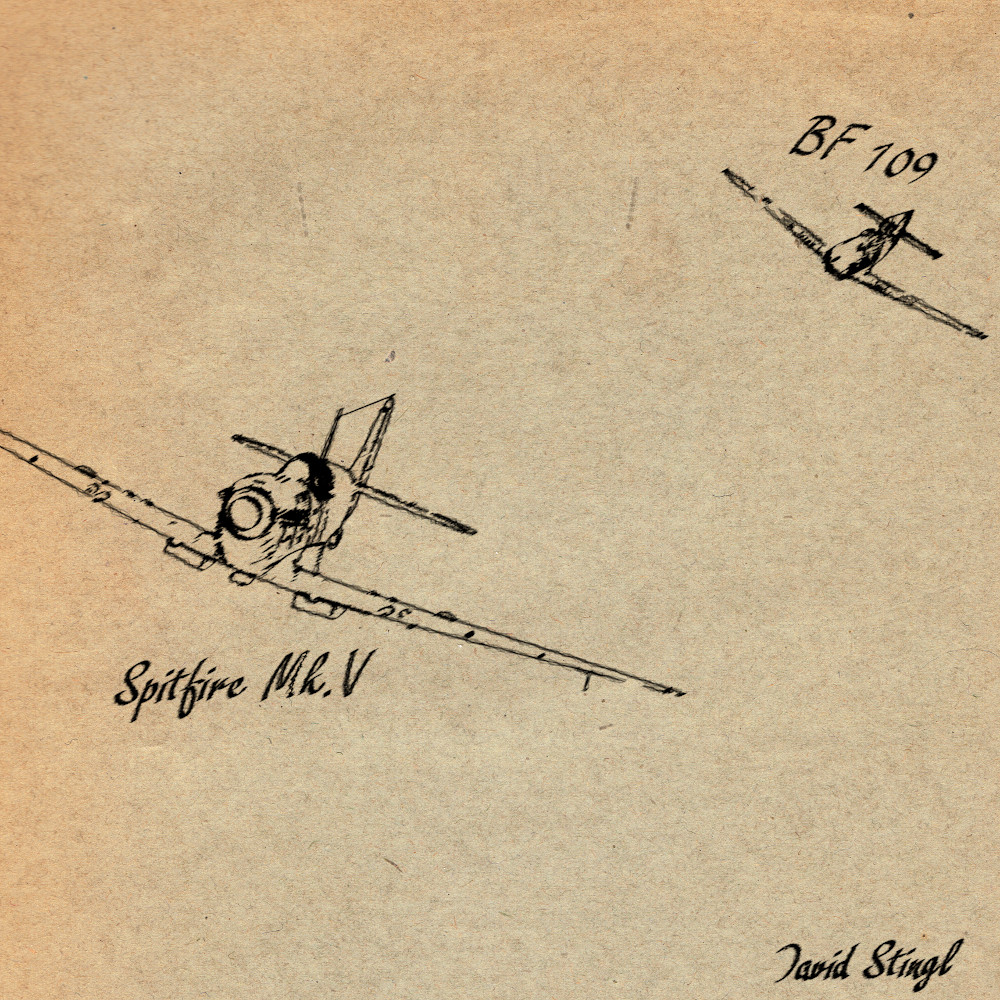 David stingl spitfire scene pencil signed and named