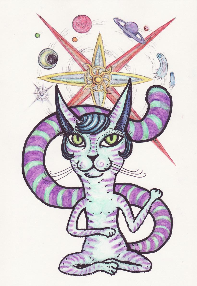 The space cat (aquarelle crayons, ballpoint pen)