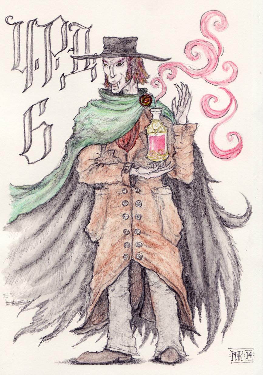 Friendly (but still a bit devious) vampire (aquarelle crayons, pencil)