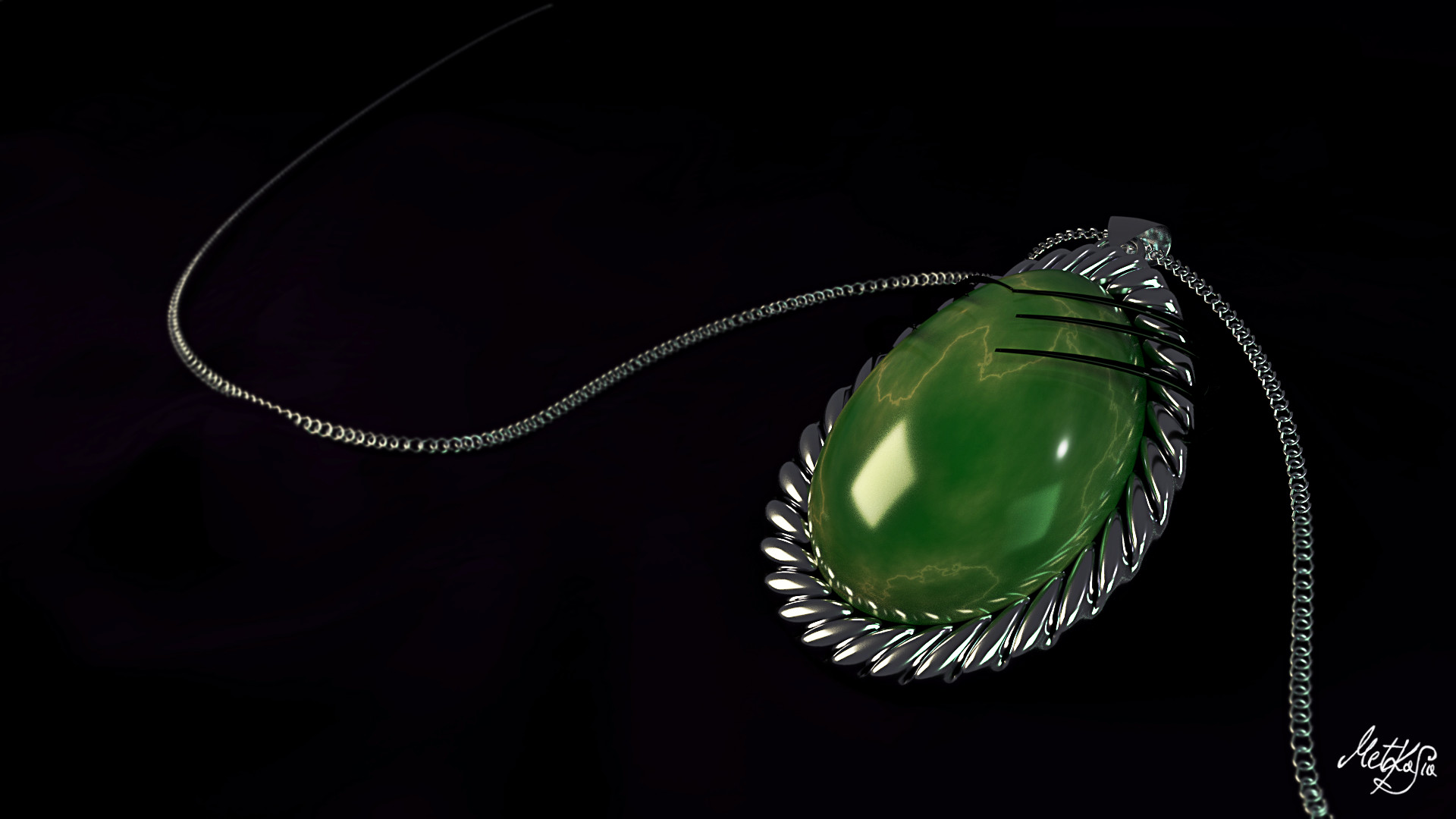 Kasia michalak green stone necklace silver