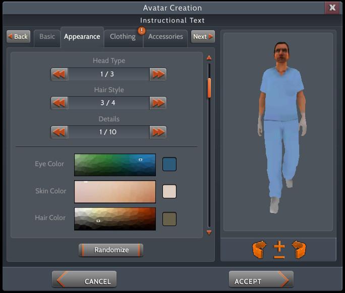 Avatar menu tab system