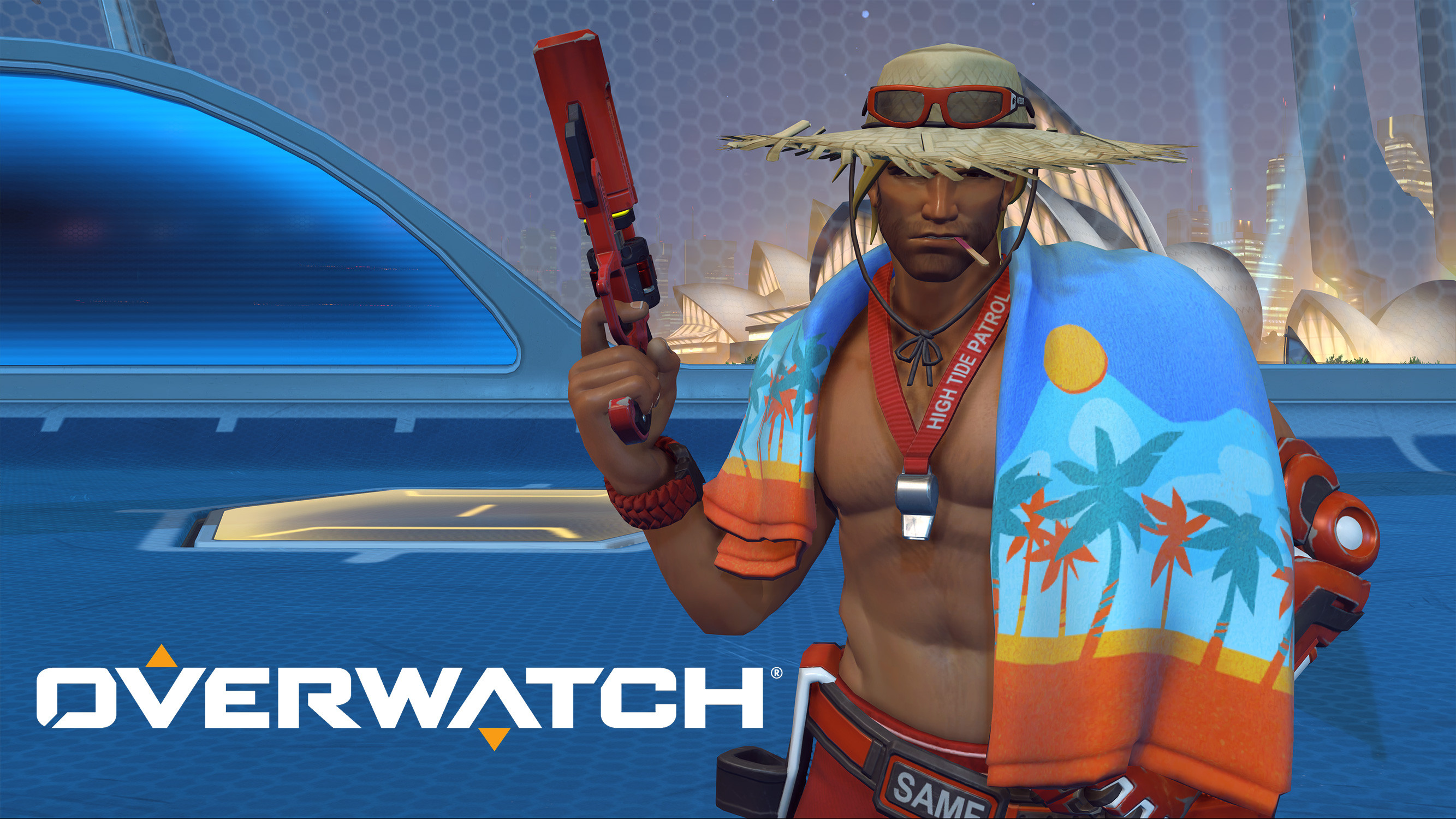 Lifeguard McCree for the Overwatch 2017 Summer Event. Gun by Aljona Bulgar.