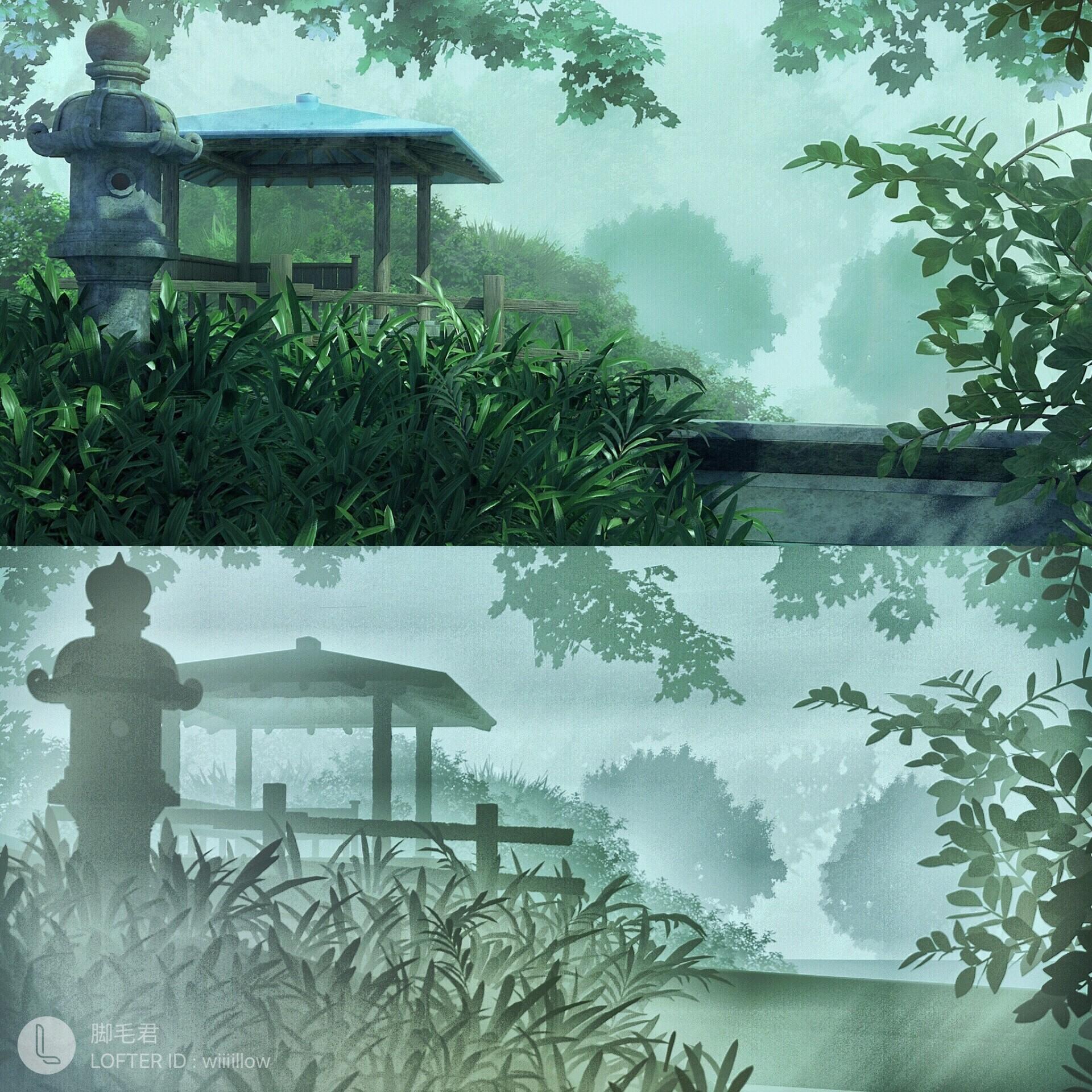 Artstation The Garden Of Words Scene Rebuilt In 3d Software Liu He