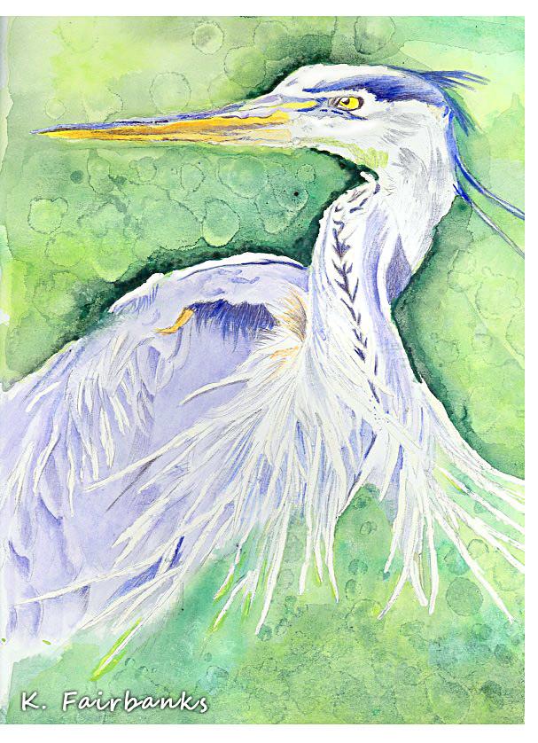 Heron painting by K. Fairbanks