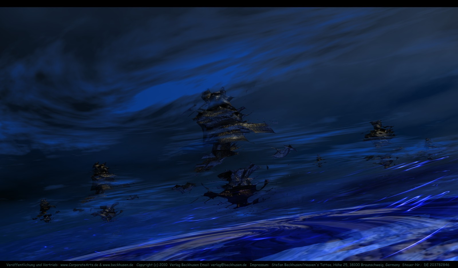 08 Spacebase in the atmosphere of Neptune. This artwork is published as cover-art for an scifi novel.