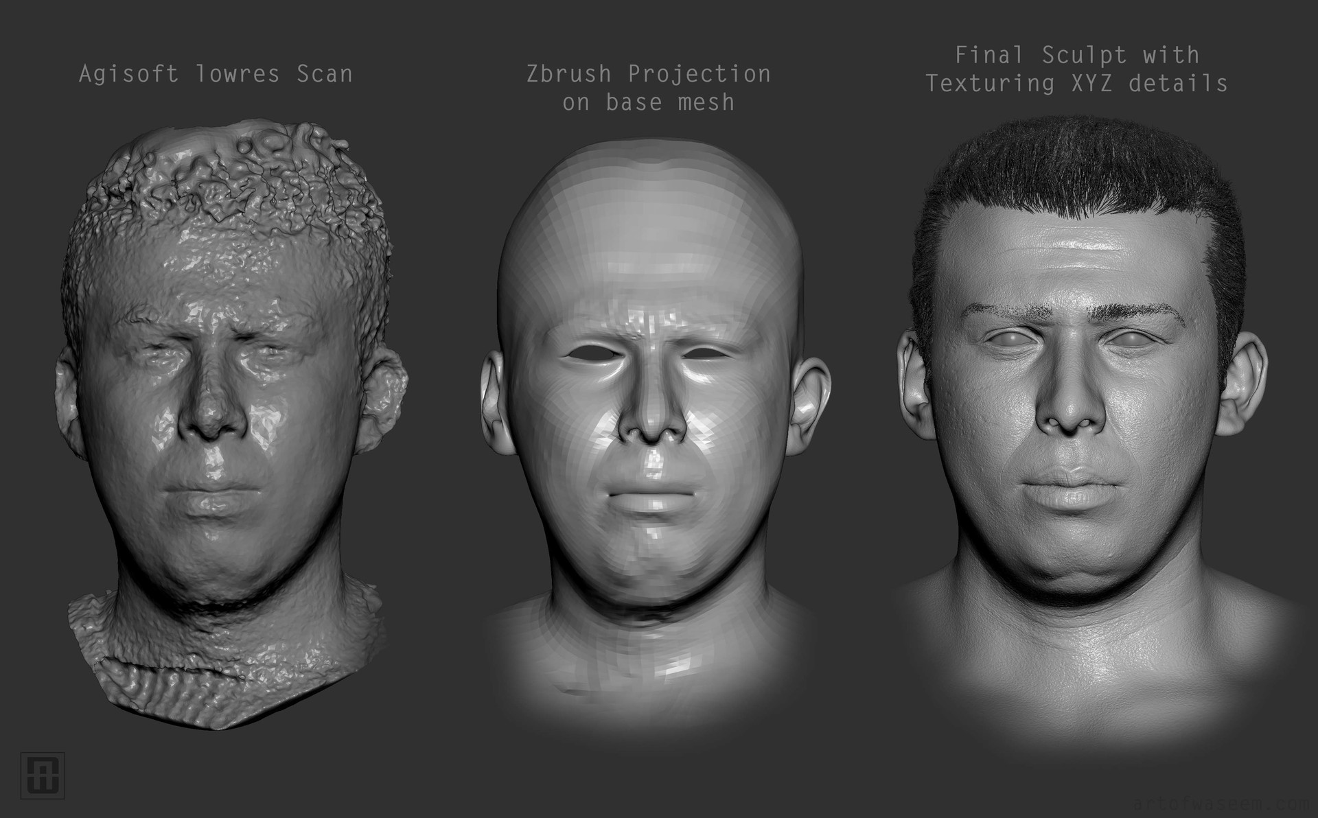 Process from Scan to Finished Sculpt.