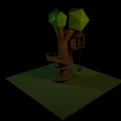 Hiwren nyx low poly treehouse