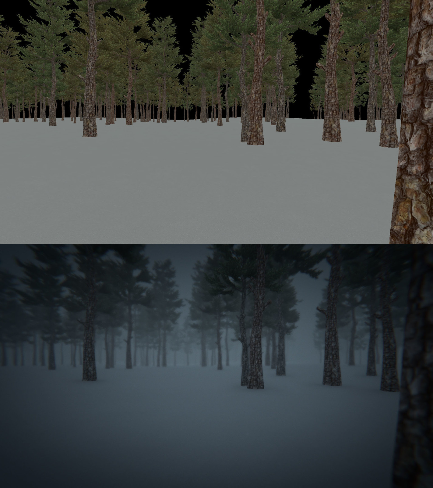 Arctic Forest before and after