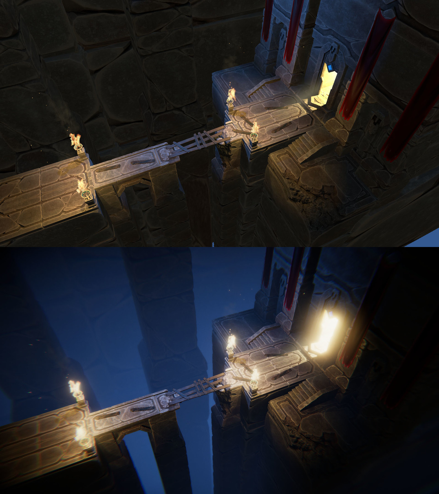 Dwarven Ruins before and after