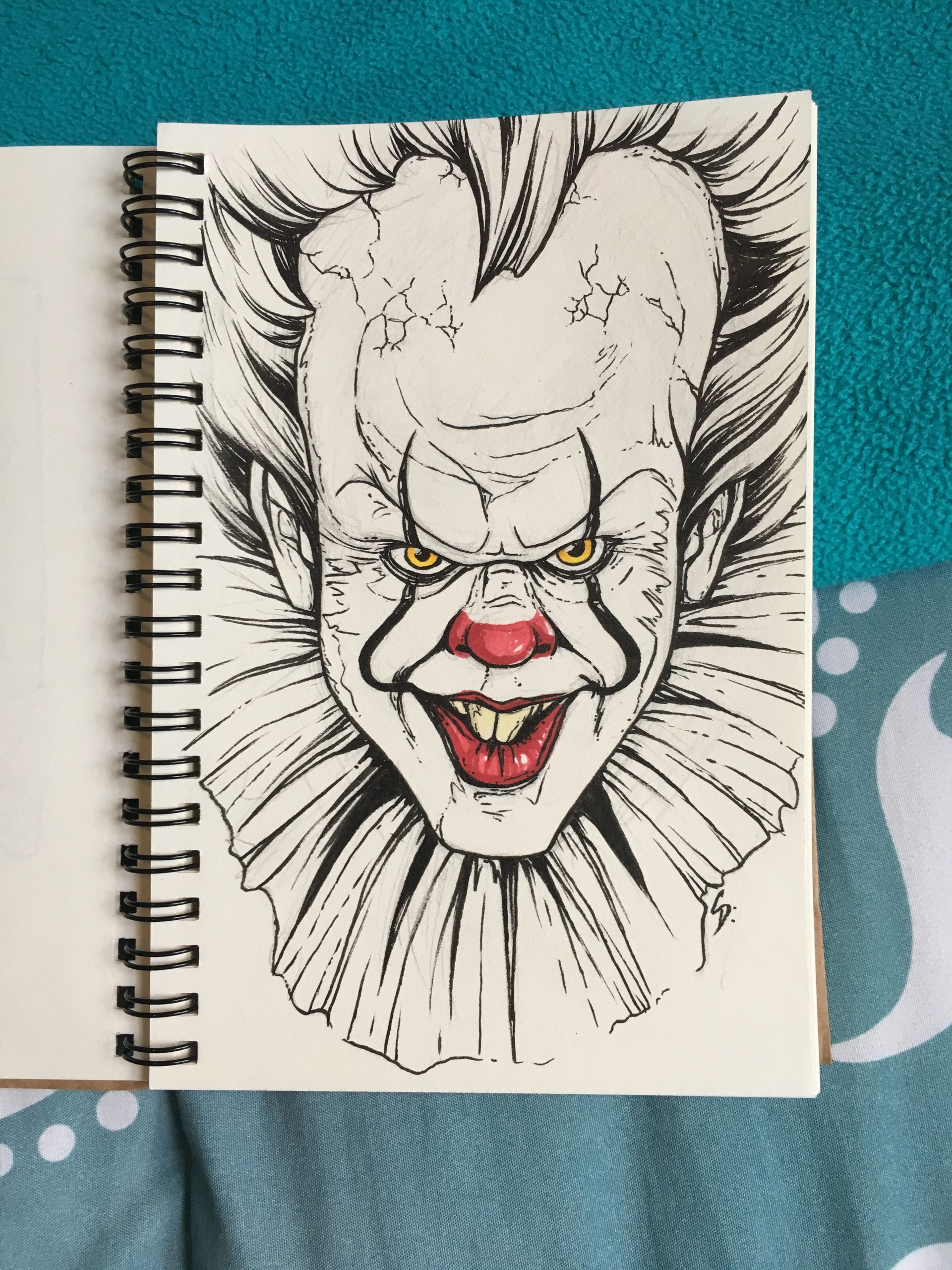 Artstation Pennywise Ink Drawing Christina Dehaan