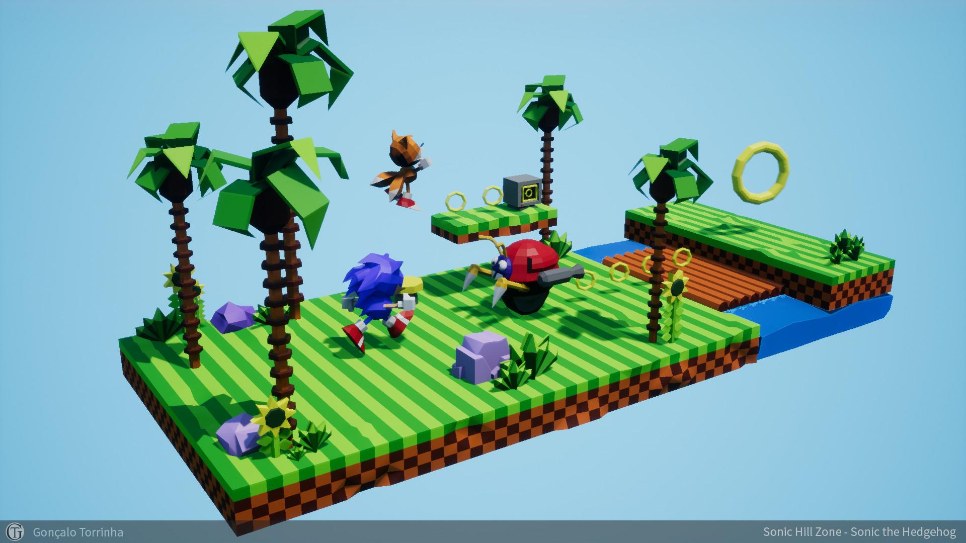 Artstation Sonic Hill Zone Dioramas Sonic The Hedgehog Goncalo Torrinha