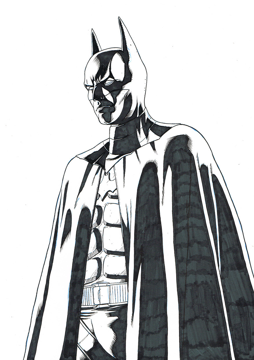 Batman, inked, raw scan