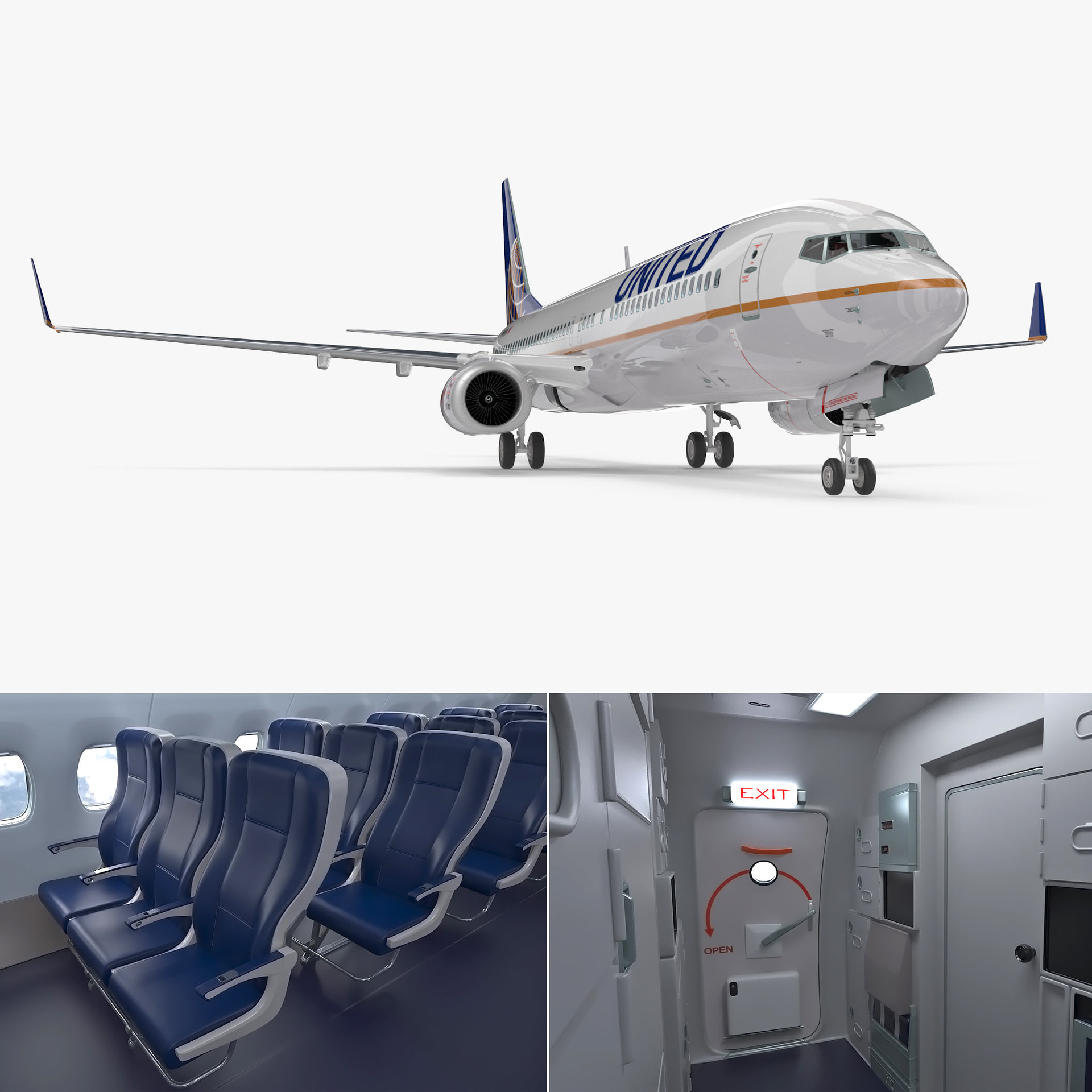 Artstation 3d Boeing 737 900 With Interior United Airlines Rigged Model Andrey Simonenko
