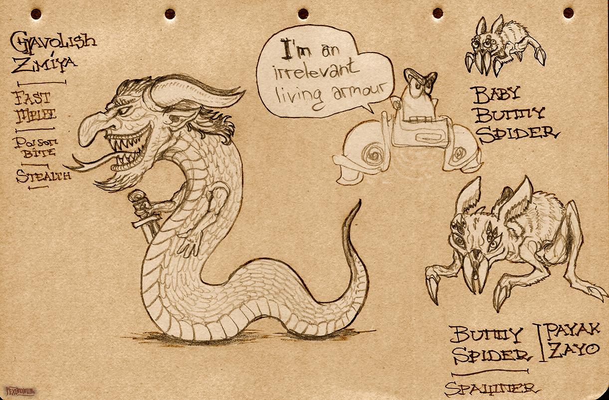 """Dev'lish snake"" and bunny-spiders"