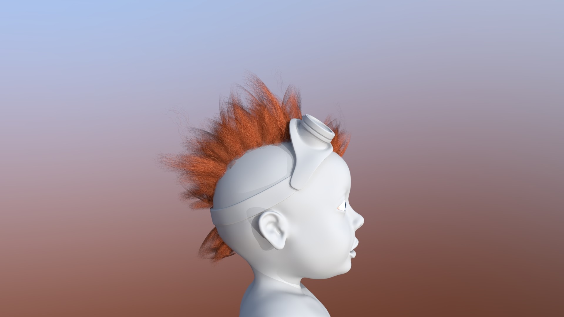 Hair was done manually by placing different polycards.