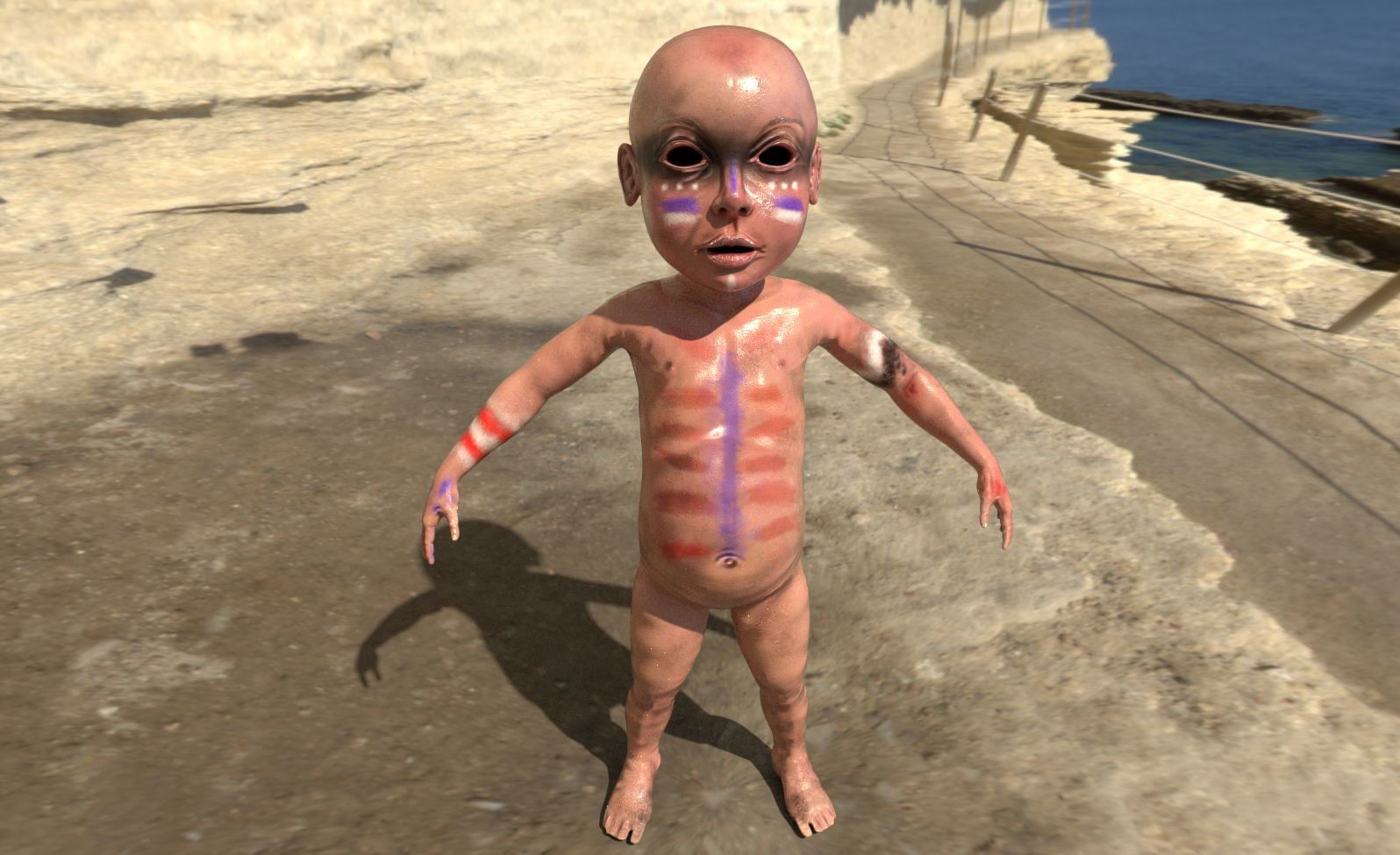 Basecolor of baby has been made in Zbrush, then I exported normal maps and base color maps, corrected them in Photoshop, sent to Substance painter for additional texturing, this is one of the tests.