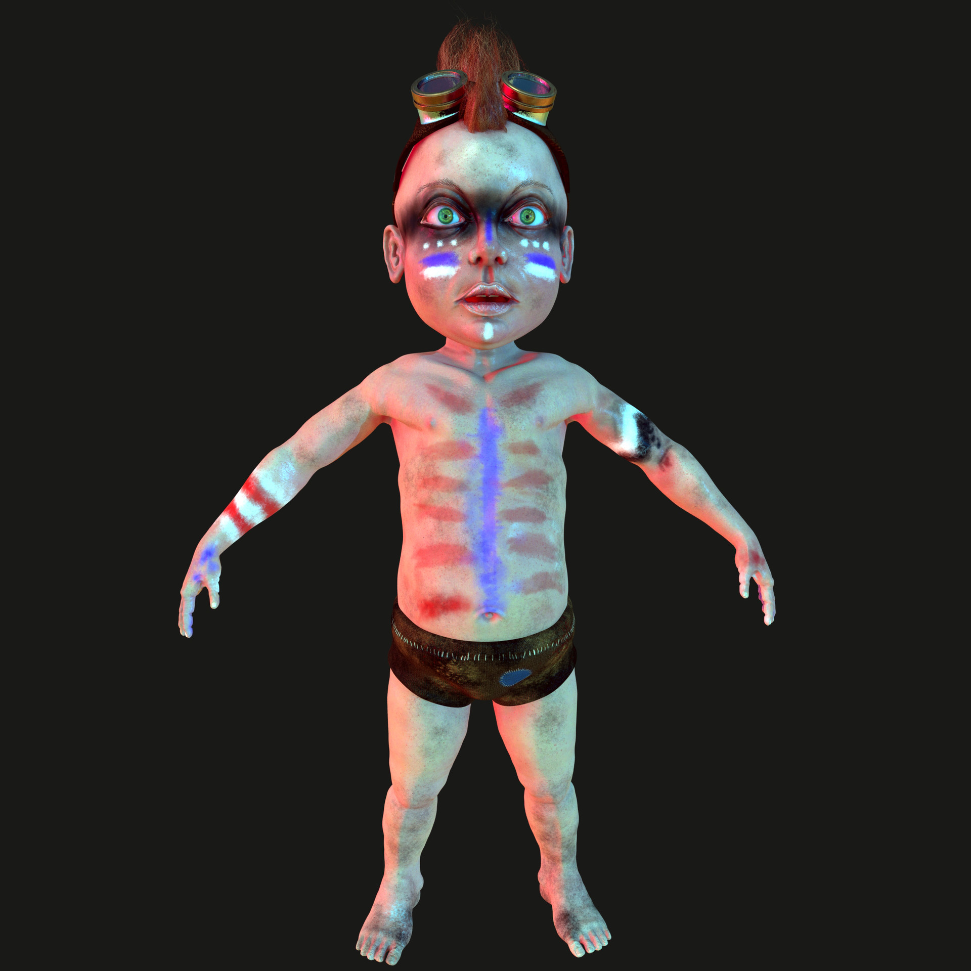Testlook of baby in Maya, render used - Mental ray. It took 4 days to make the whole character.