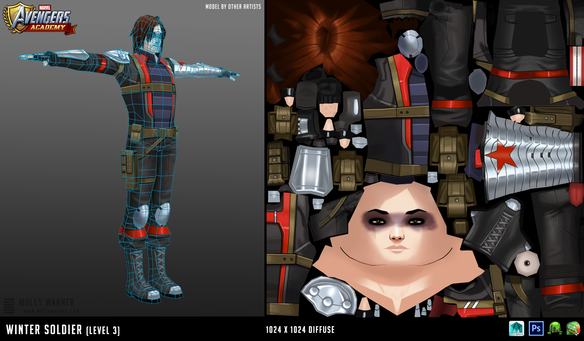 Molly warner 14 wintersoldier l3 textures wireframe