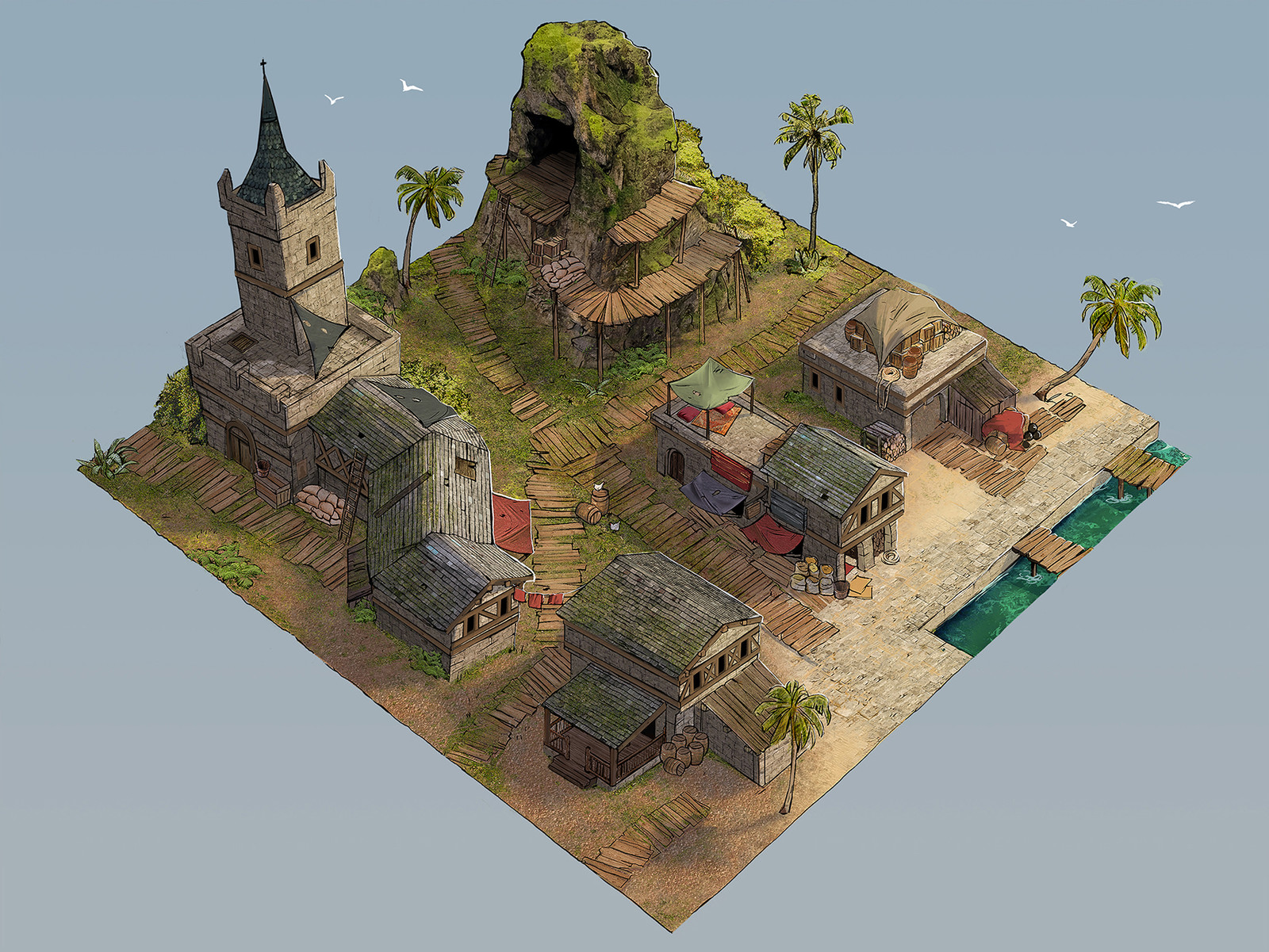 Pirate Town Game Art