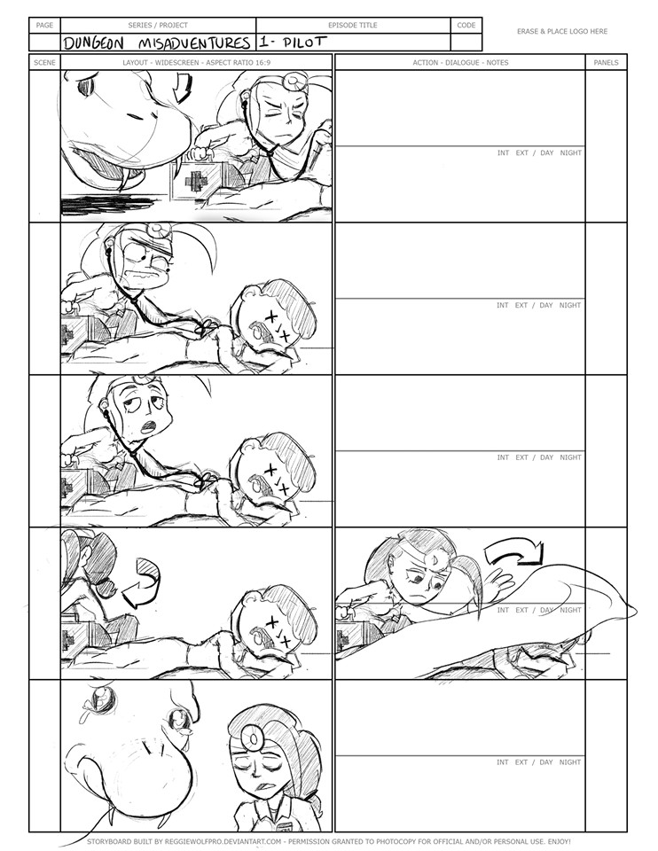 """(5) A selection from the """"Dungeon Misadventures"""" storyboards."""