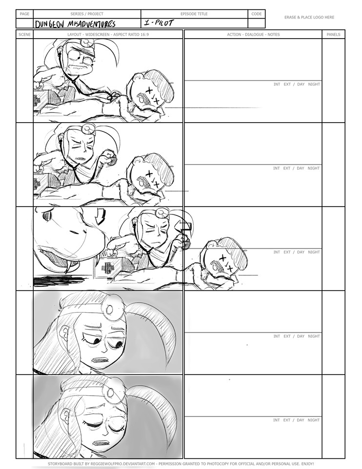 """(4) A selection from the """"Dungeon Misadventures"""" storyboards."""