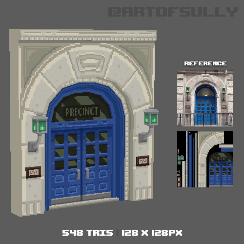 3D Pixel-Art Police Station Doors (Commission)