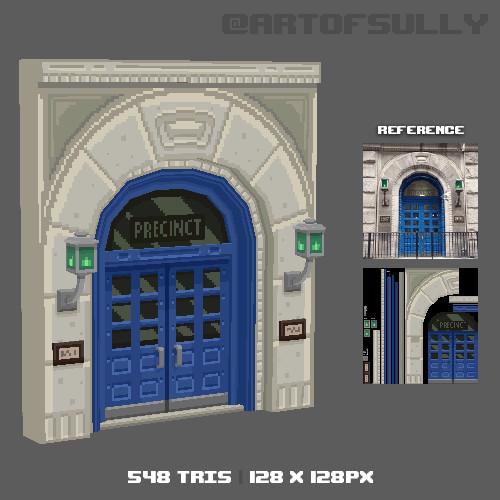 3D Pixel-Art Police Station Doors (Commission)
