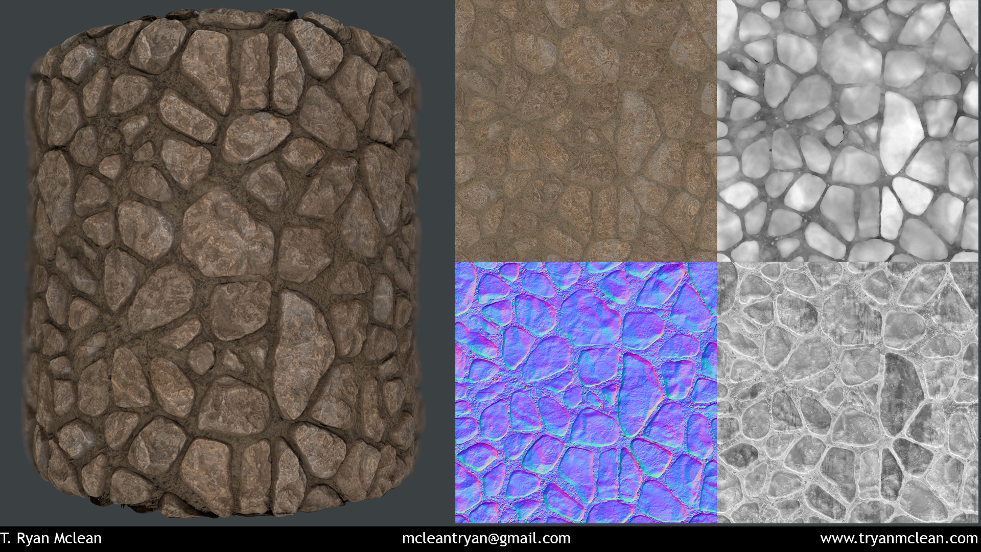 Stone Wall. Created in Substance Designer. Rendered in Marmoset Toolbag. Texture Flats of Albedo, Height, Normal and Roughness.