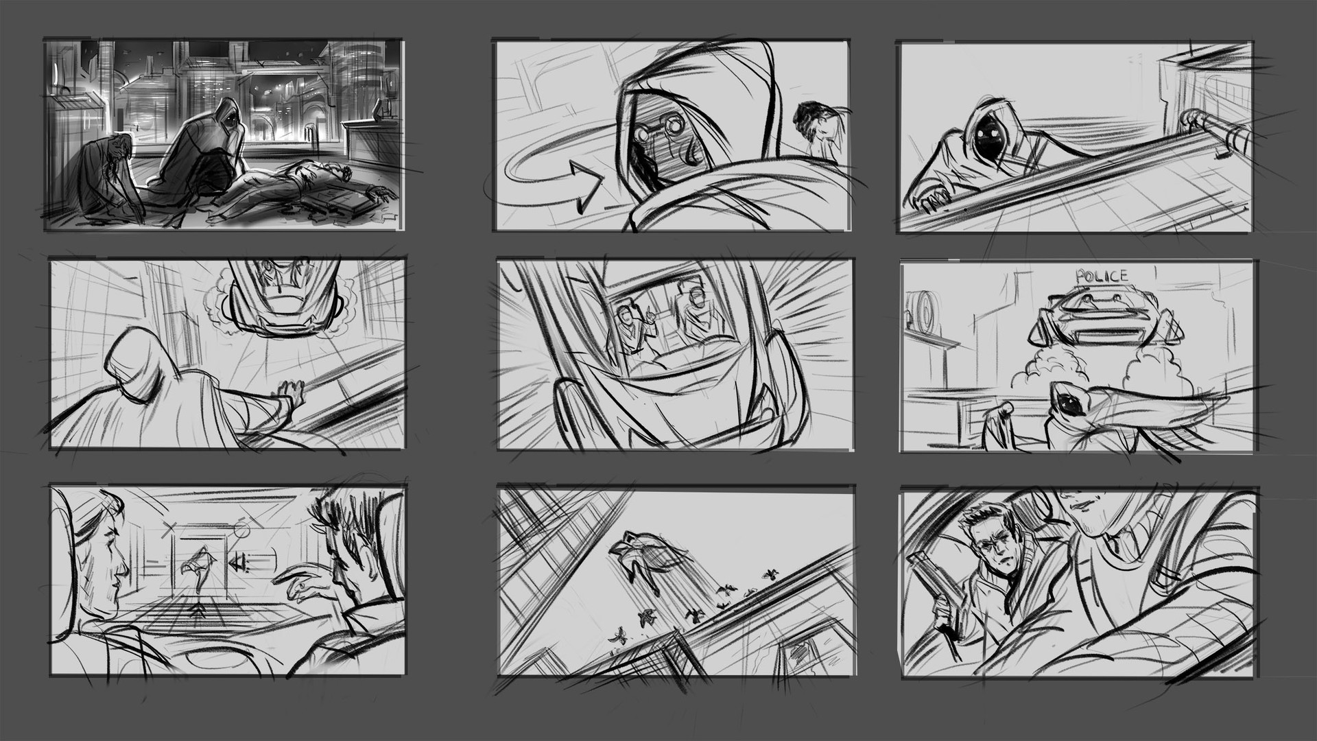 Storyboard frames 1  I decided explore my idea with some quicks boards.