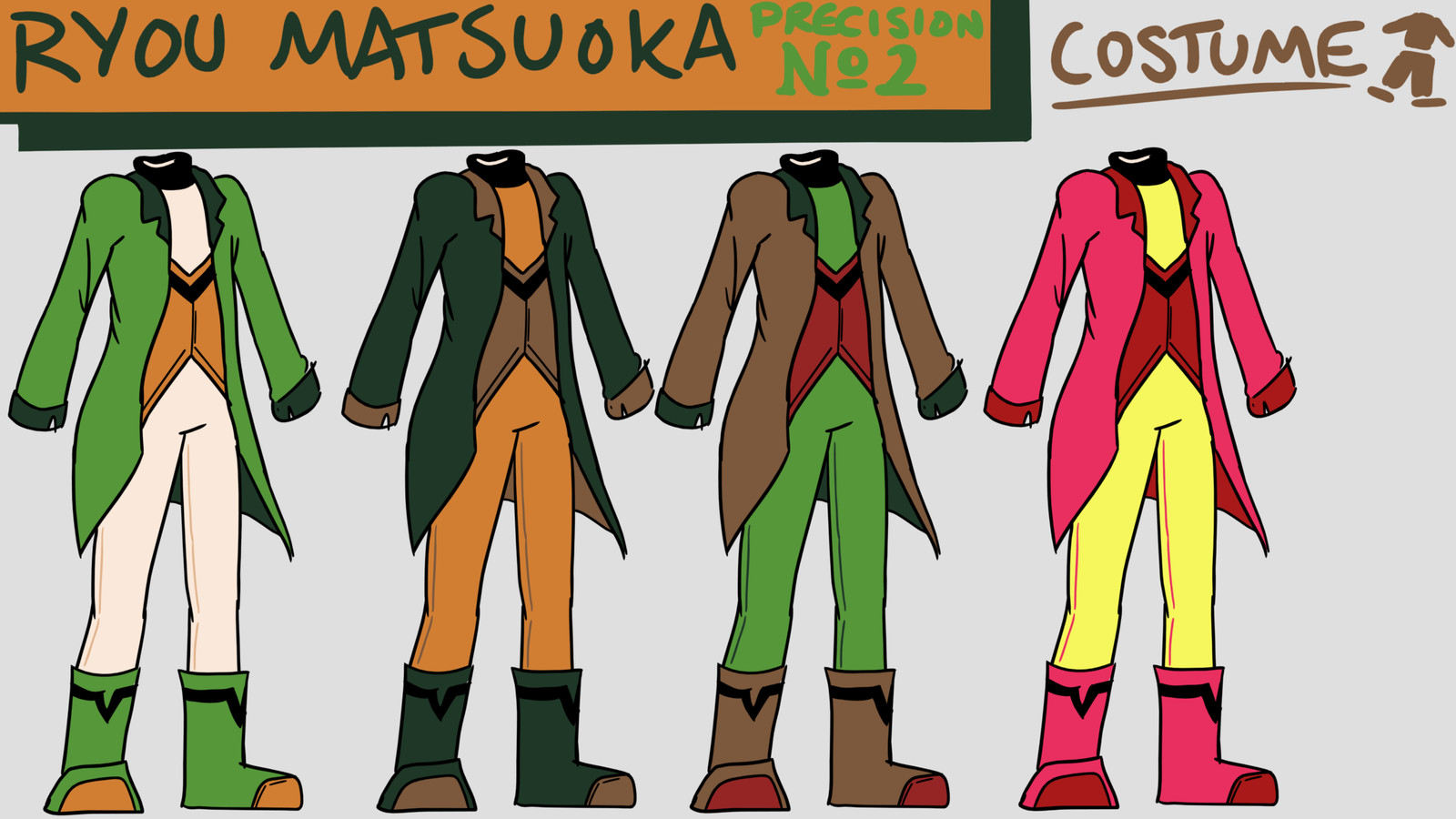 Alternate palettes for a man's costume. Designed for a video game.
