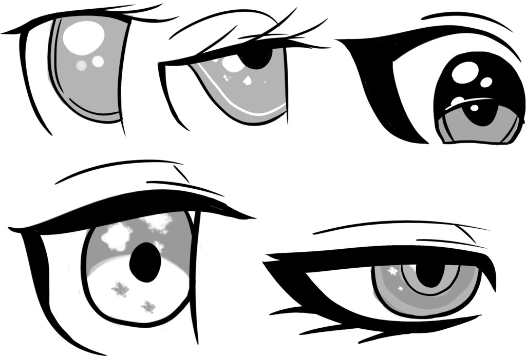 Various eye and eyelashes designs for a woman character. Designed for a video game.