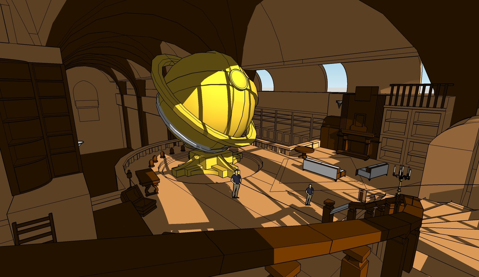 the 3D model I finally went with. All of this is done in sketchup. The sphere ended up becoming an aquarium since I thought the sphere itself could use something more interesting.